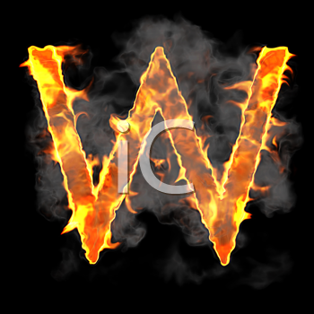 Royalty Free Clipart Image of a Burning Letter W