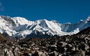 Mountains in the vicinity of Cho oyu peak (8201 m). Pictured in Nepal