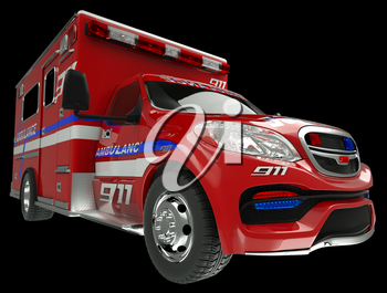 Ambulance: wide angle view of emergency services vehicle on black. Custom made and rendered
