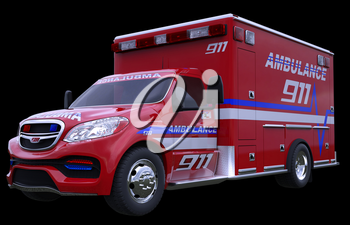 Emergency: ambulance vehicle isolated on black (all custom made and CG rendered)