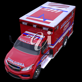 Emergency call and 911: ambulance van isolated on black (all custom made and CG rendered)