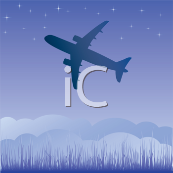 Royalty Free Clipart Image of a Plane at Night