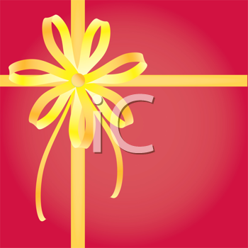 Royalty Free Clipart Image of a Bow and Ribbon Background