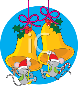 Royalty Free Clipart Image of Mice Swinging on Bell Clappers