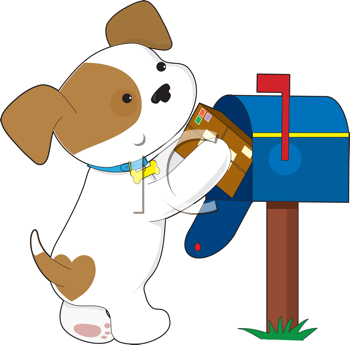Royalty Free Clipart Image of a Puppy Mailing a Letter
