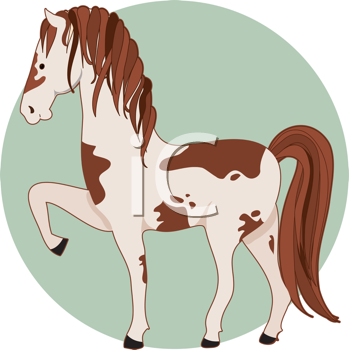 Royalty Free Clipart Image of a Pinto Pony With One Leg Raised