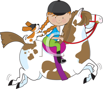 Royalty Free Clipart Image of a Girl Riding a Horse With a Dog