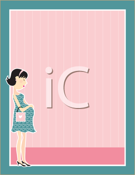 Royalty Free Clipart Image of a Frame With a Pregnant Woman in the Bottom Corner