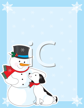 Royalty Free Clipart Image of a Dog and a Snowman With a Frame