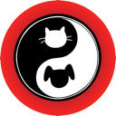 An atypical yin yang symbol inside a red circle, with a cat and dog engaged in the endless chase.