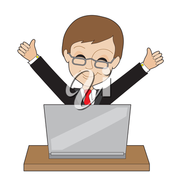 A young business man is happy about something on his laptop -