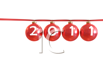 Royalty Free Clipart Image of a 2011 in Christmas Ornaments