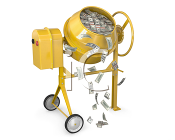 Royalty Free Clipart Image of a Concrete Mixer Full of Money