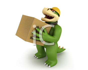 Royalty Free Clipart Image of an Alligator With a Box