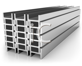 Royalty Free Clipart Image of a Stack of Girders