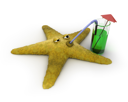 Royalty Free Clipart Image of a Starfish Drinking Juice