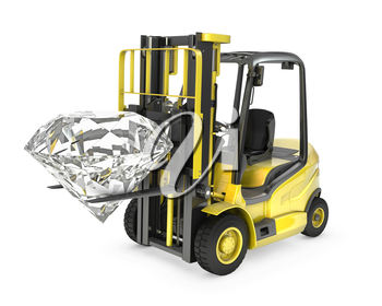Fork lift truck lifts round cut diamond, isolated on white background