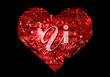 abstract love symbol on black background