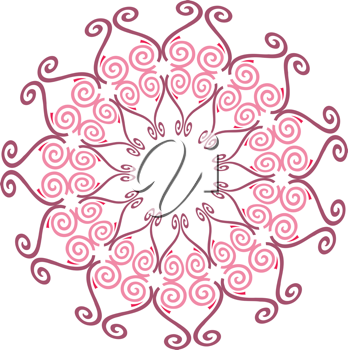 Royalty Free Clipart Image of a Pink Snowflake or Flower Design