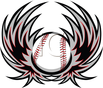 Royalty Free Clipart Image of a Baseball With Wings