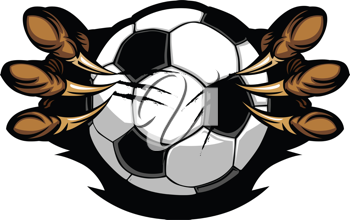Royalty Free Clipart Image of a Soccer Ball Held By Eagle Talons