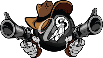 Royalty Free Clipart Image of an Eight Ball Cowboy