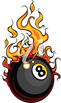 Royalty Free Clipart Image of an Eight Ball on Fire