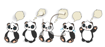 Royalty Free Clipart Image of Pandas With Speech Bubbles