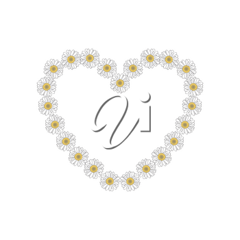 Illustration of hand drawn heart shaped daisy isolated on white background