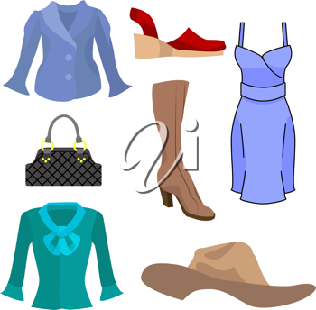 Royalty Free Clipart Image of Fashions Items