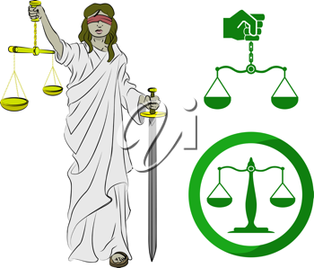 Royalty Free Clipart Image of a Lady Justice and Two Scales