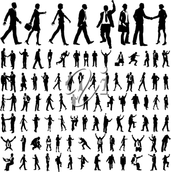 Royalty Free Clipart Image of a Businesspeople Silhouettes
