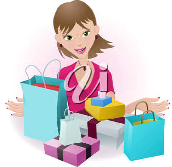 Royalty Free Clipart Image of a Woman Looking at Her Purchases