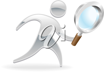 Royalty Free Clipart Image of a Mascot Holding a Magnifying Glass