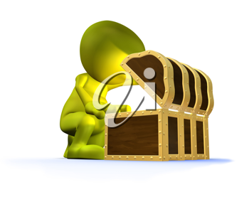 Royalty Free Clipart Image of a Man Looking in a Chest