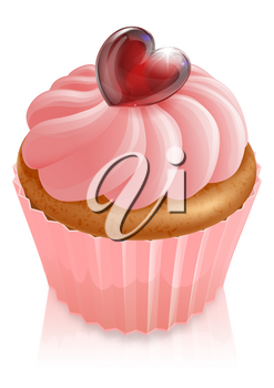 Pink fairy cake cupcake illustration with heart shaped decoration and pink icing