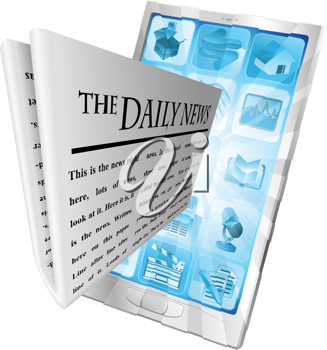 Newspaper coming out of phone screen concept