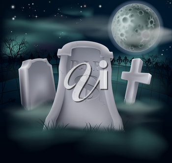 A grave in a graveyard with RIP and a dollar sign on it. Economy or financial concept.