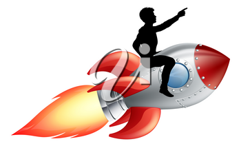 A businessman seated riding a rocket. Concept for innovation, success or breaking new ground in business.