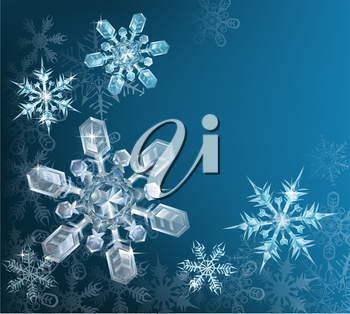 Lovely blue snowflake Christmas background with translucent snowflakes