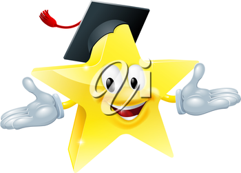 Star man wearing a mortarboard, education concept