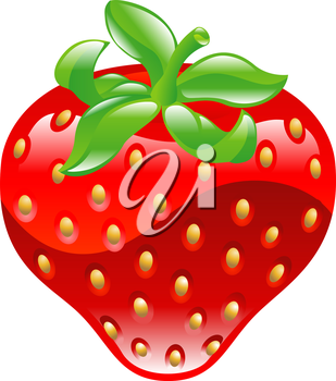 Royalty Free Clipart Image of a Shiny Strawberry