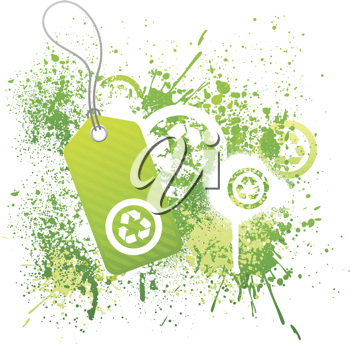 Royalty Free Clipart Image of a Recycling Tag on a Grunge Background