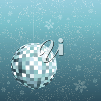 Royalty Free Clipart Image of a Disco Ball on a Snowflake Background