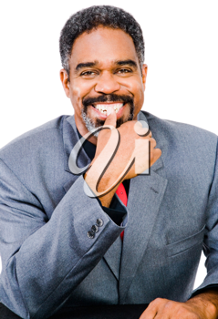 Smiling businessman posing isolated over white