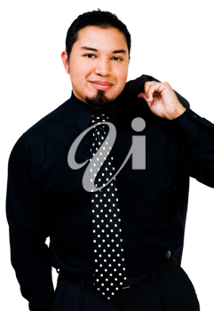 Close-up of a businessman posing and smiling isolated over white