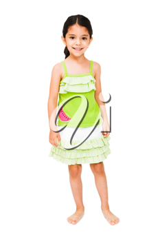 Girl standing and smiling isolated over white