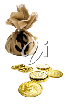 US coins with a dollar sign on a sack isolated over white