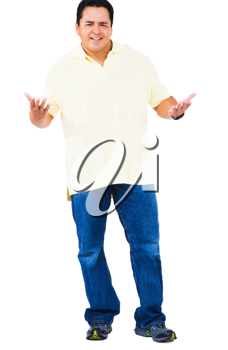 Mid adult man gesturing isolated over white