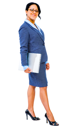 Mid adult businesswoman holding a laptop and smiling isolated over white